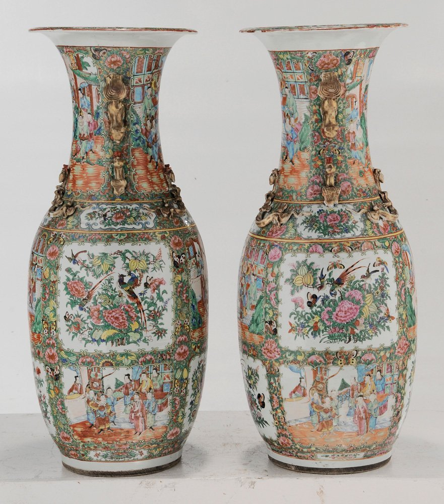 Pair Rose Medallion Floor Vases - 5