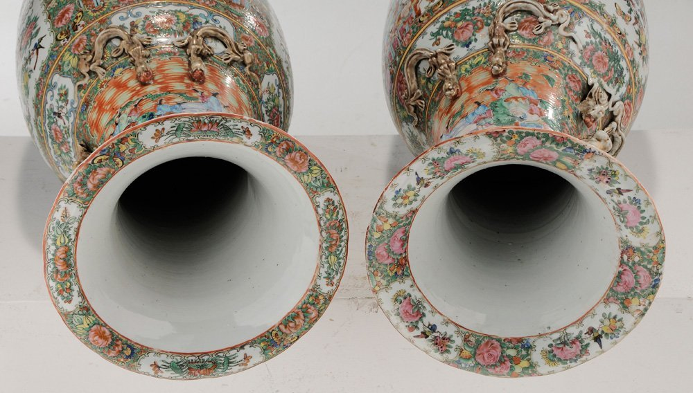 Pair Rose Medallion Floor Vases - 9