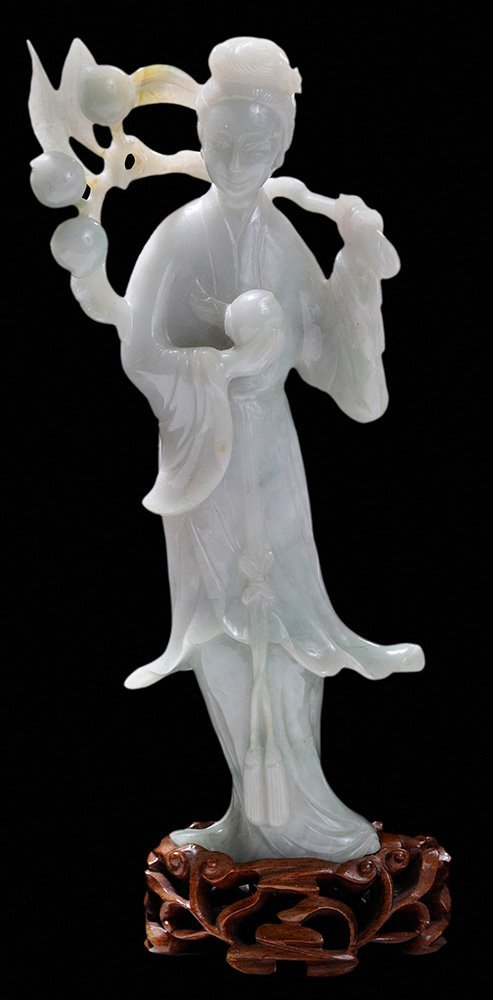 Carved Jadeite Standing Quanyin