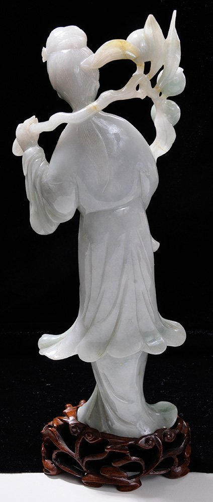 Carved Jadeite Standing Quanyin - 3