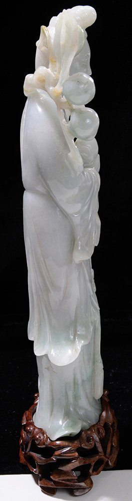 Carved Jadeite Standing Quanyin - 4