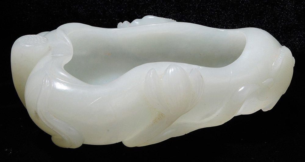 Carved Celadon Jade Brush Washer on a - 2