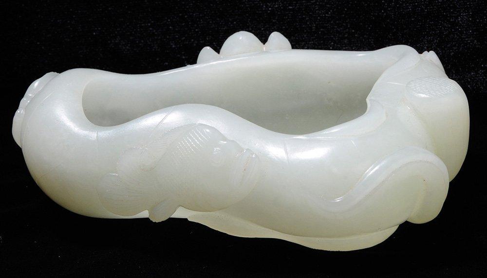 Carved Celadon Jade Brush Washer on a - 4