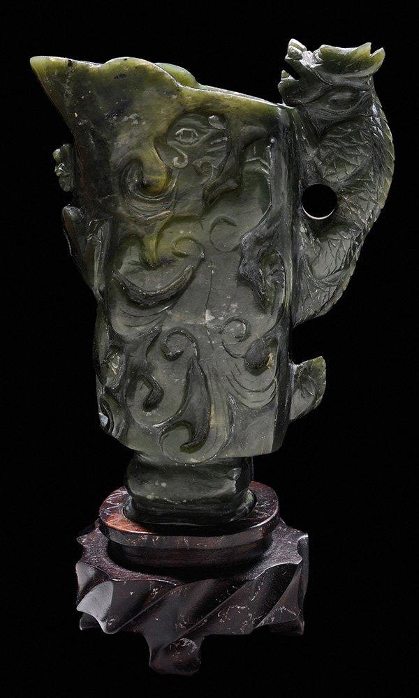 Carved Jade Dragon Libation Cup