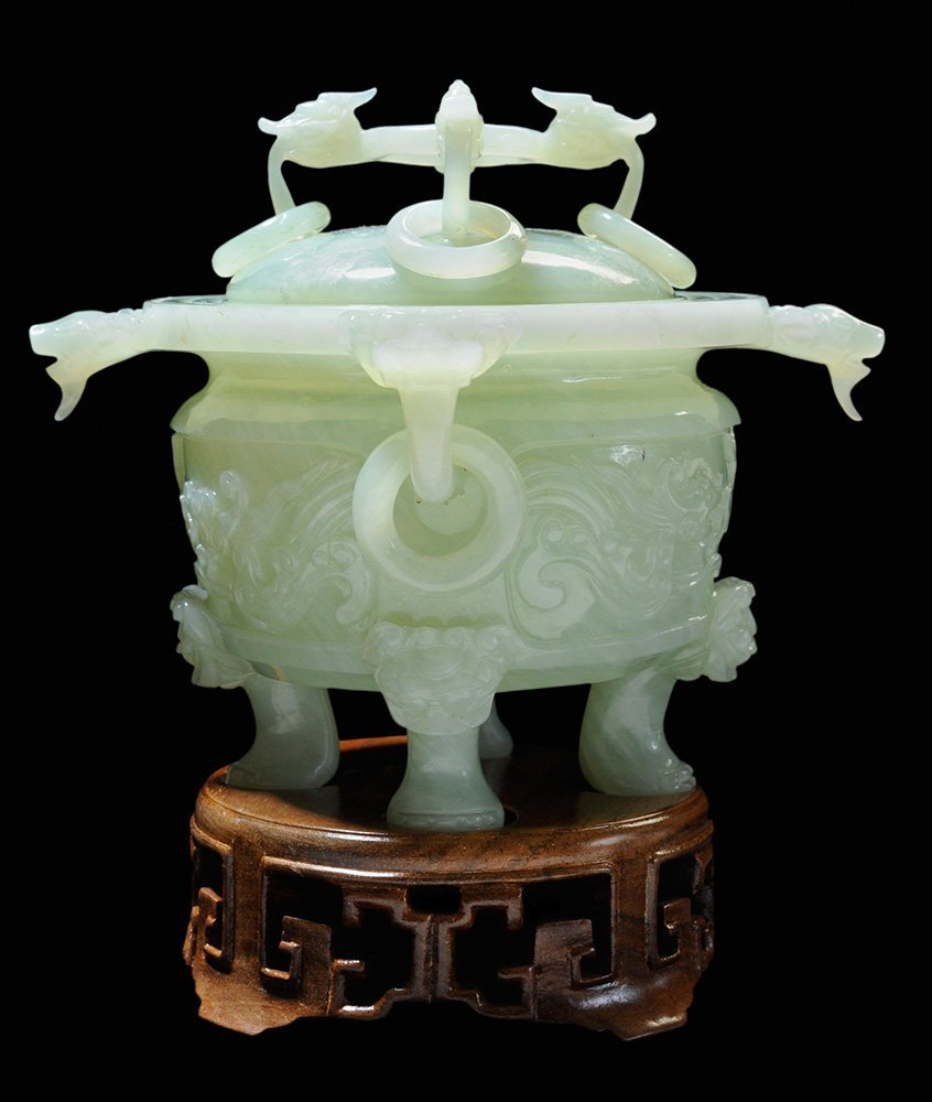 Hardstone Lidded Four-Legged Urn