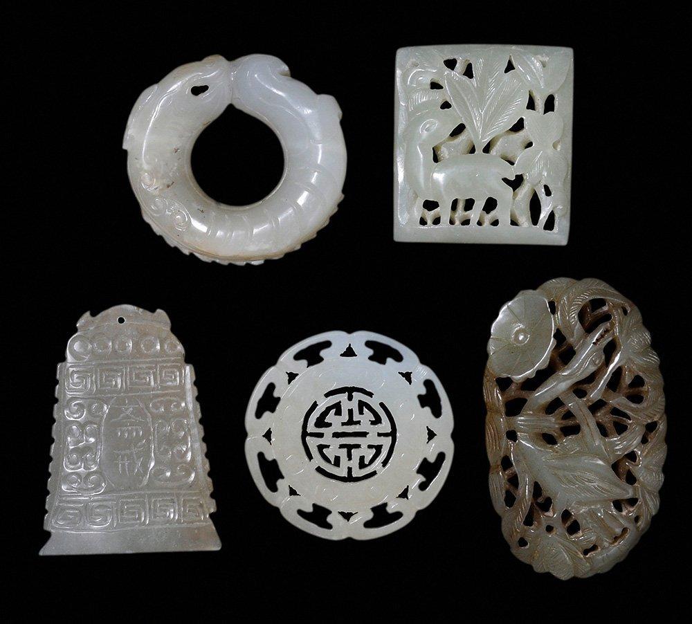 Three Jade Plaques, a Fish-Form [Bi]