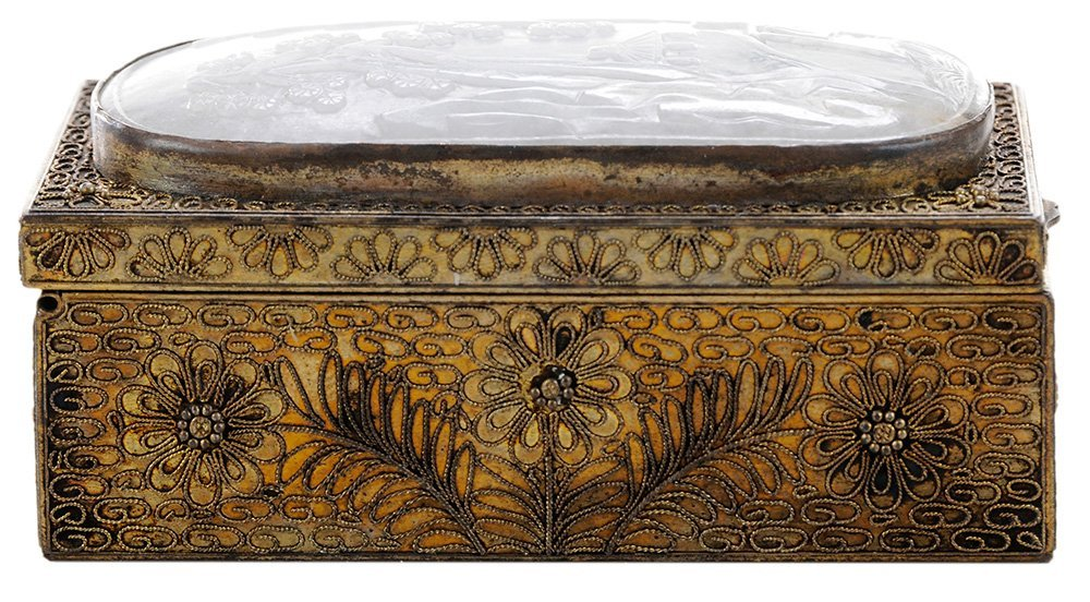 Gilt Silvered Filigree Box with a