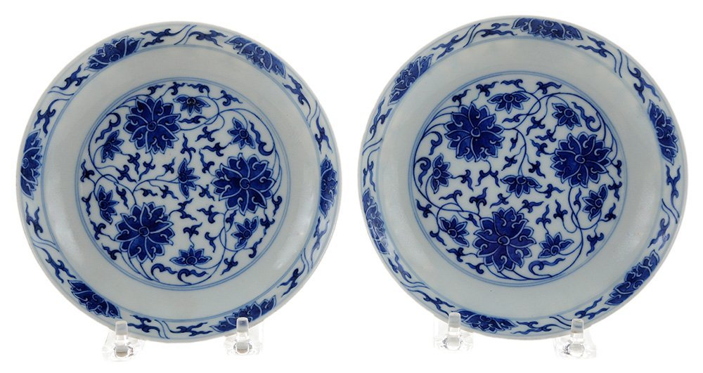 Pair Blue and White Shallow Floral