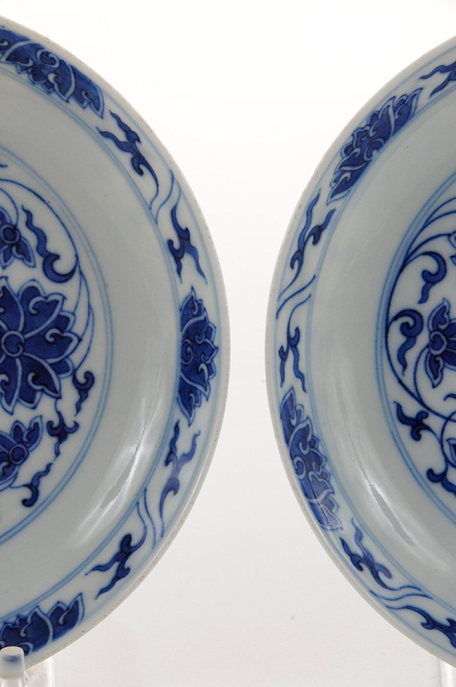 Pair Blue and White Shallow Floral - 2