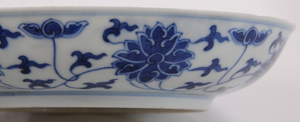 Pair Blue and White Shallow Floral - 5