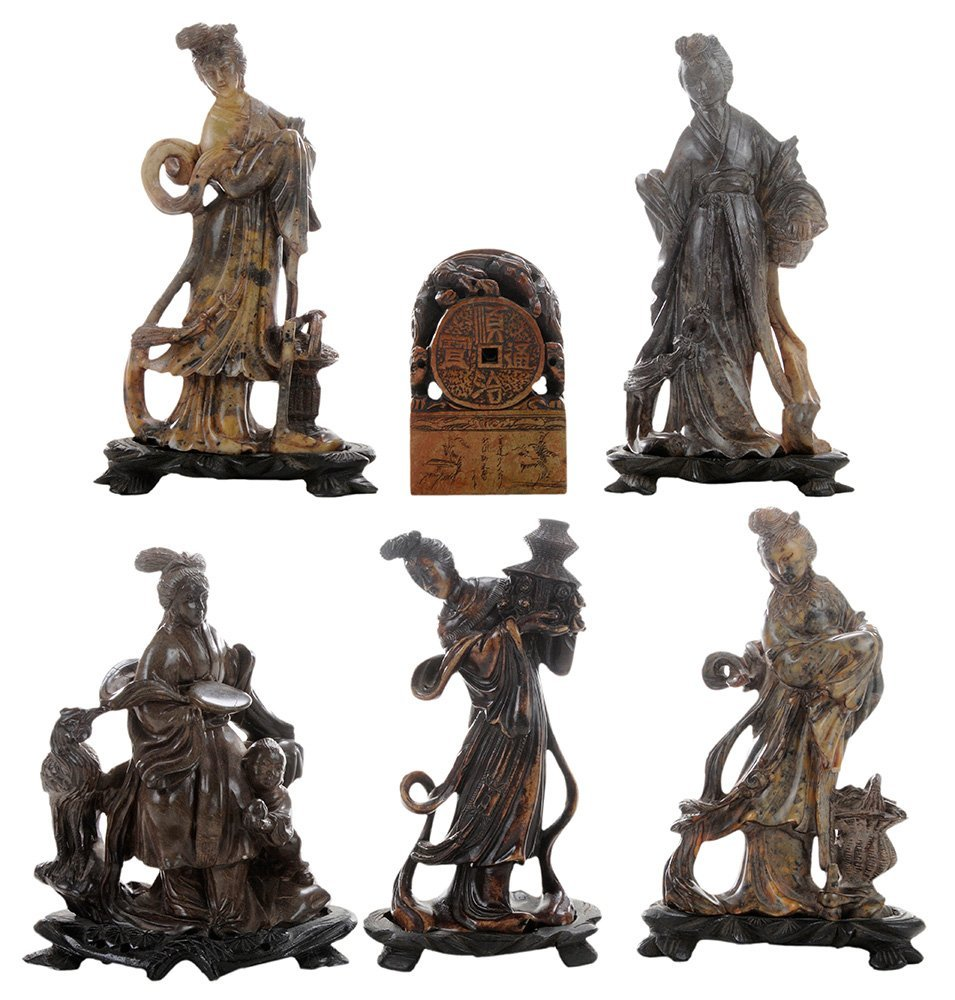 Six Carved Soapstone Figures