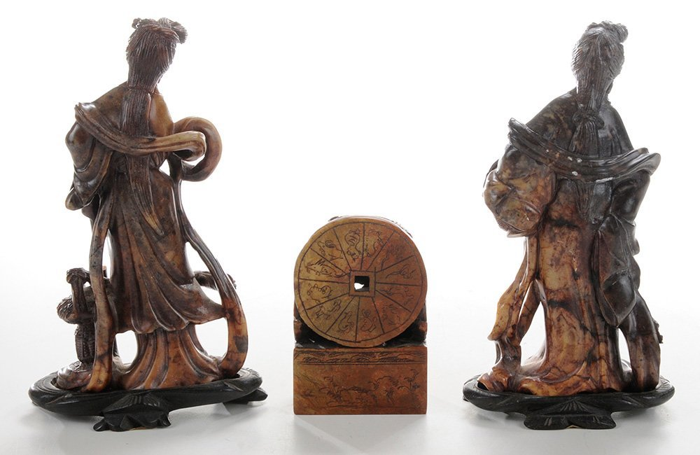 Six Carved Soapstone Figures - 3
