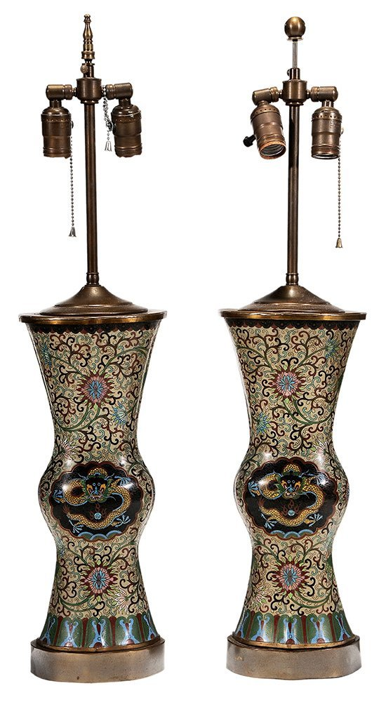 Pair Chinese Cloisonné Vases Converted