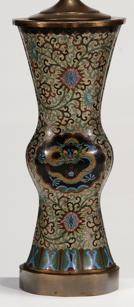 Pair Chinese Cloisonné Vases Converted - 3