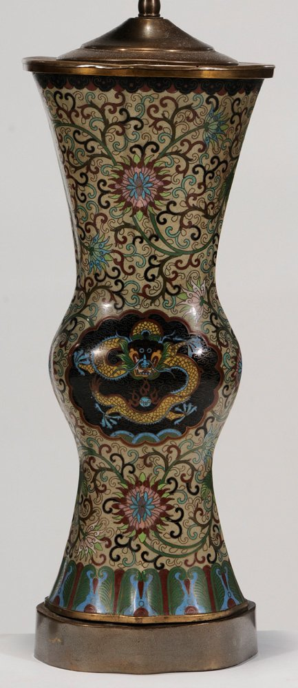 Pair Chinese Cloisonné Vases Converted - 4