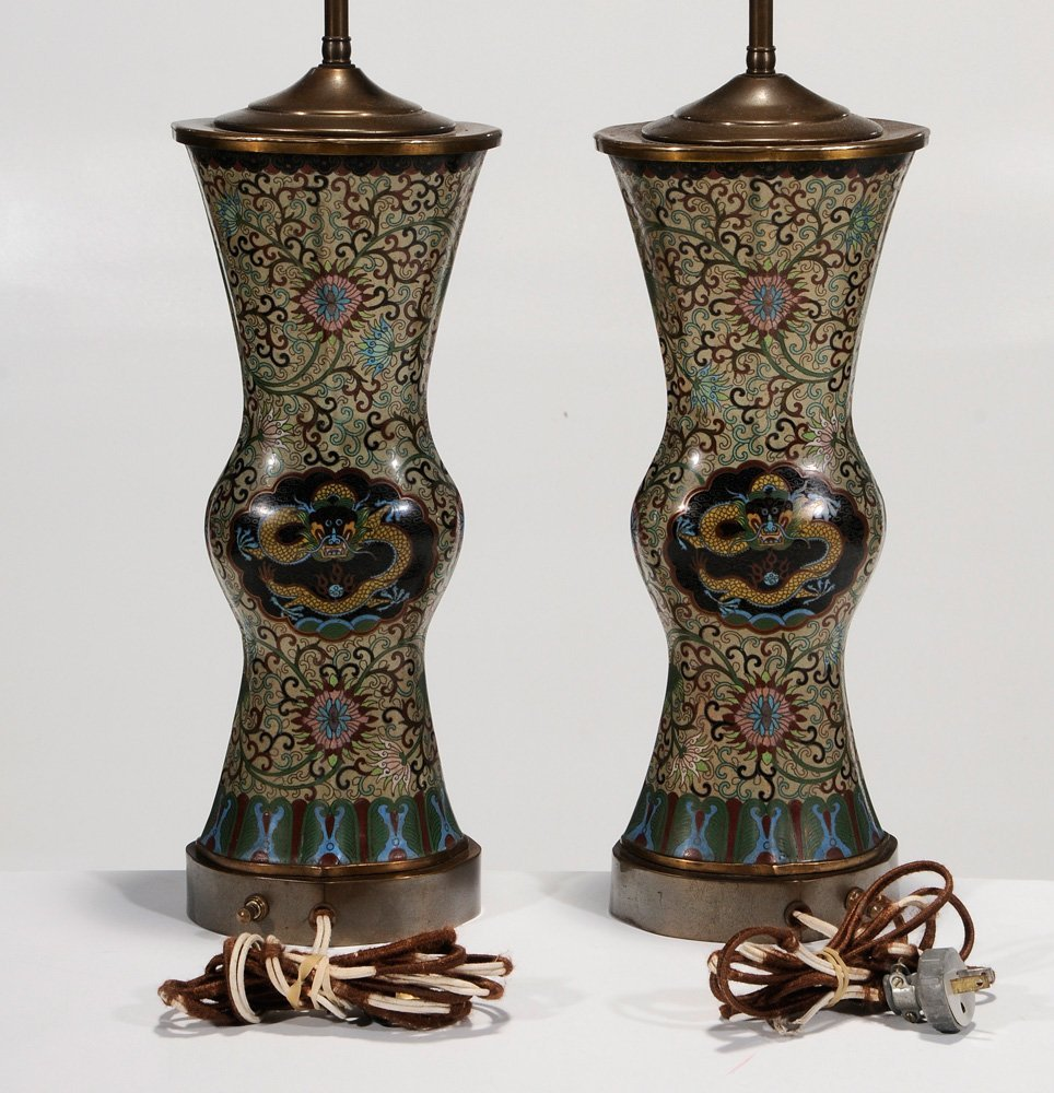 Pair Chinese Cloisonné Vases Converted - 6