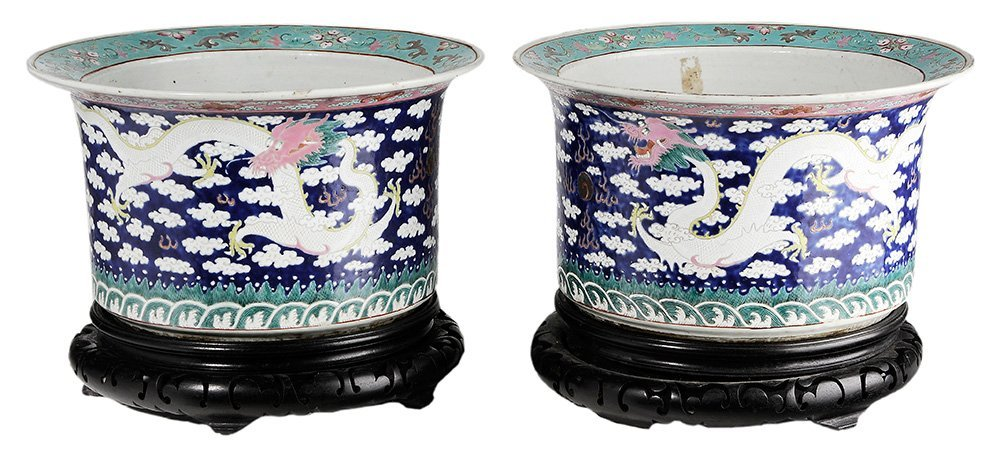 Pair of Large Chinese Famille Rose