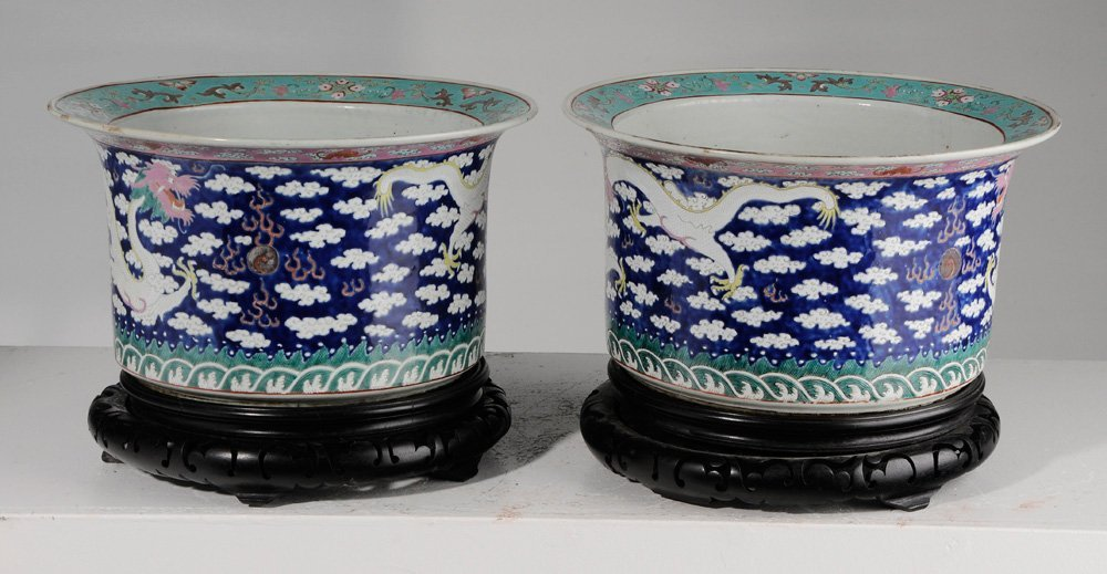 Pair of Large Chinese Famille Rose - 3