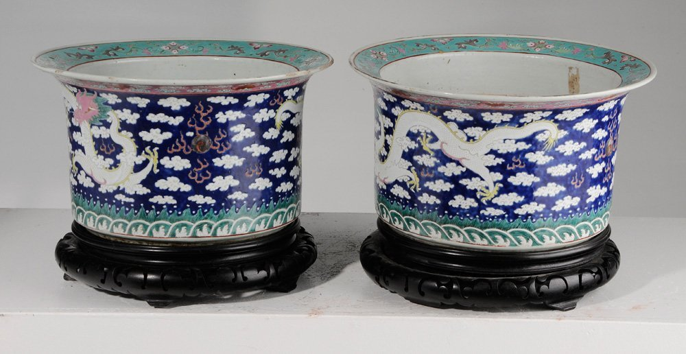 Pair of Large Chinese Famille Rose - 5