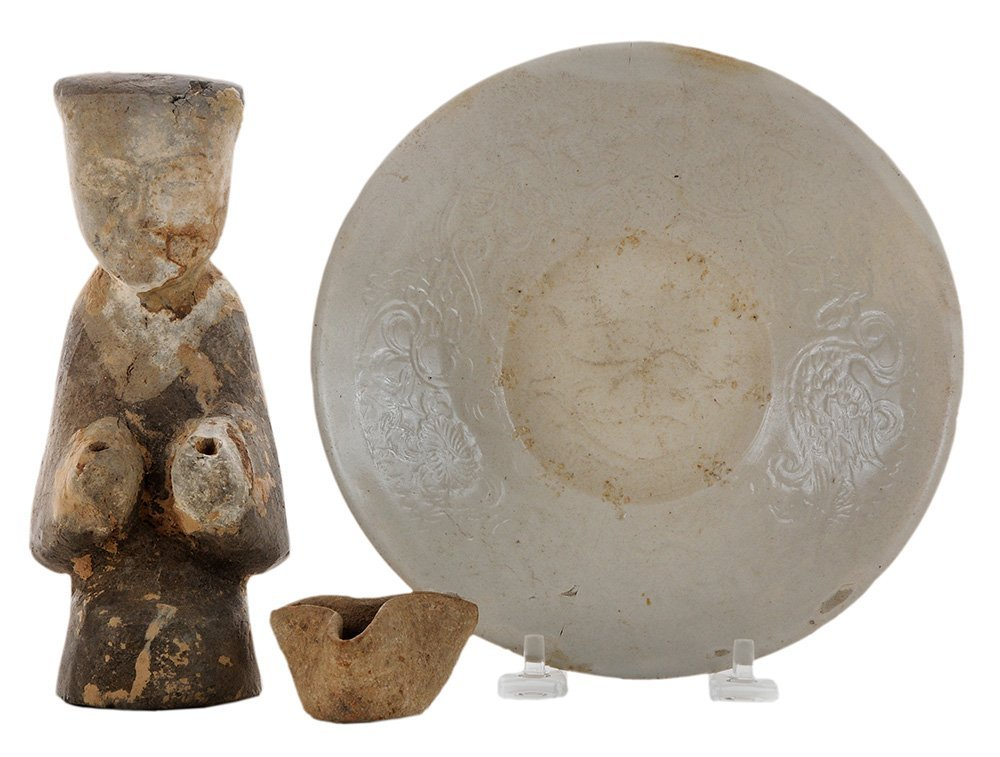 Han Pottery Figure, a Tri-Fold
