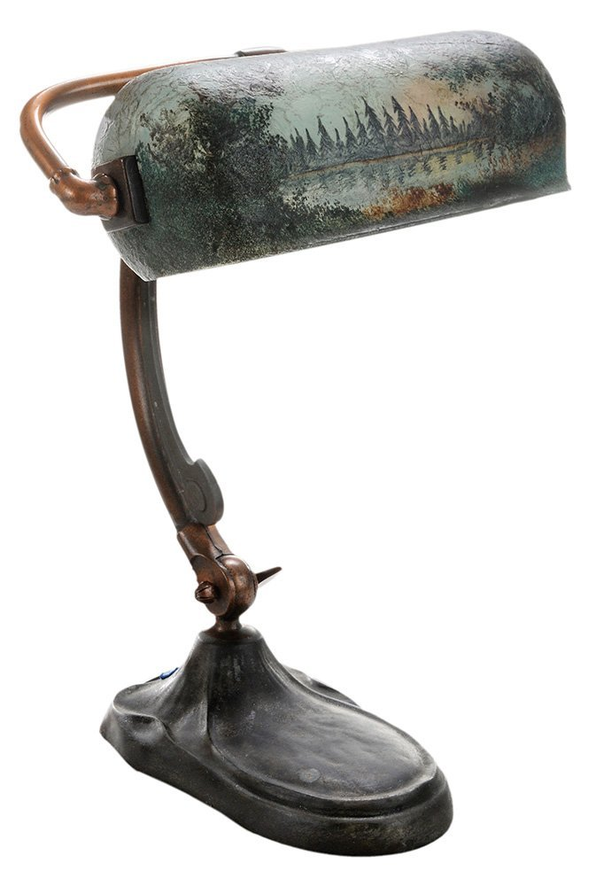 Handel Piano Lamp with Obverse Painted