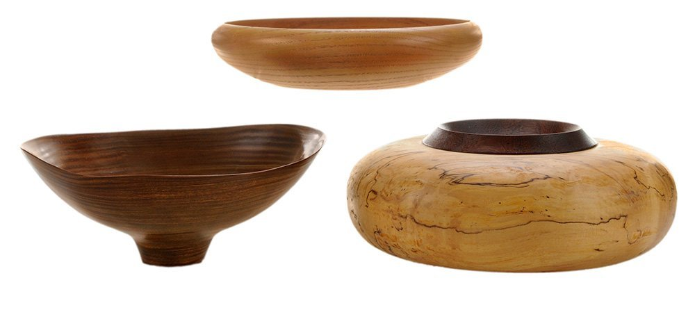 Three American Turned-Wood Vessels