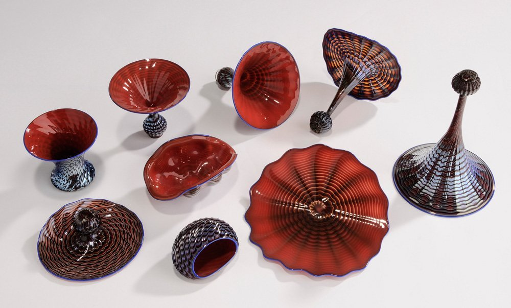Ten-Piece Dale Chihuly Blown Glass in - 7