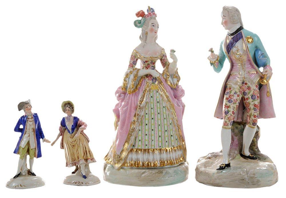 Two Pair Continental Porcelain Figures