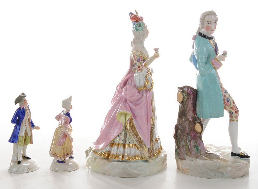 Two Pair Continental Porcelain Figures - 2
