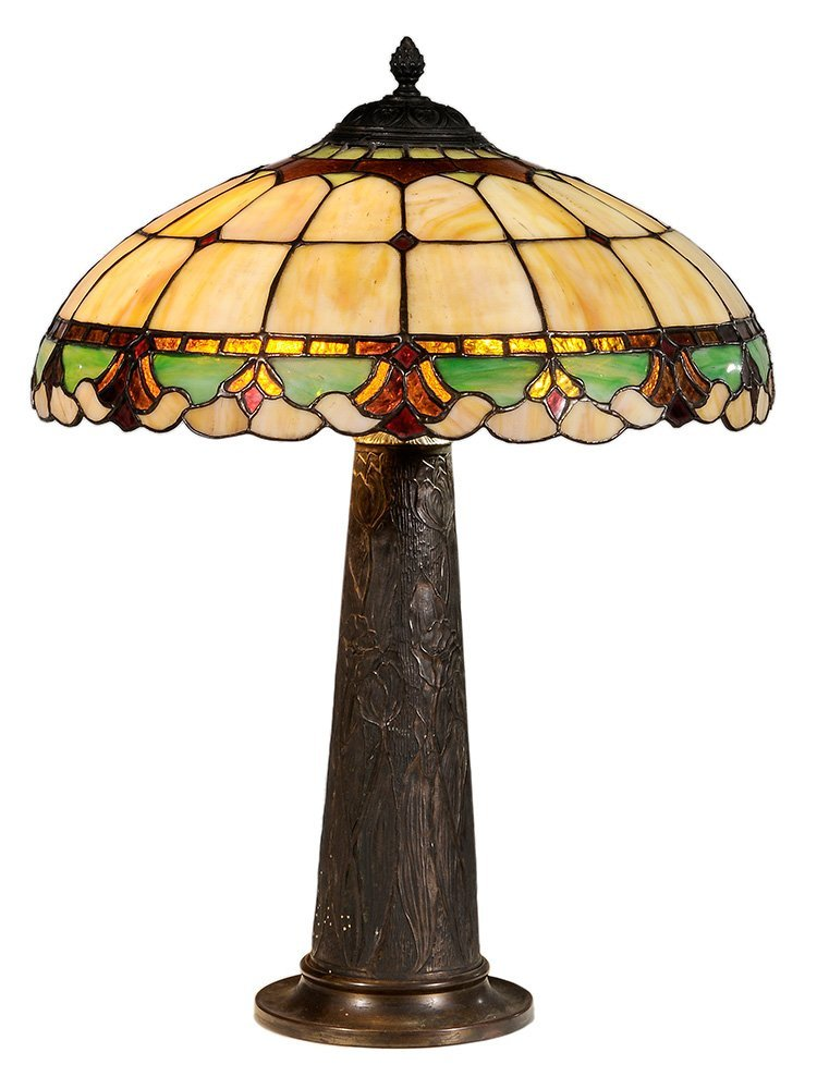 Cast Metal Lamp Base and Leaded Glass