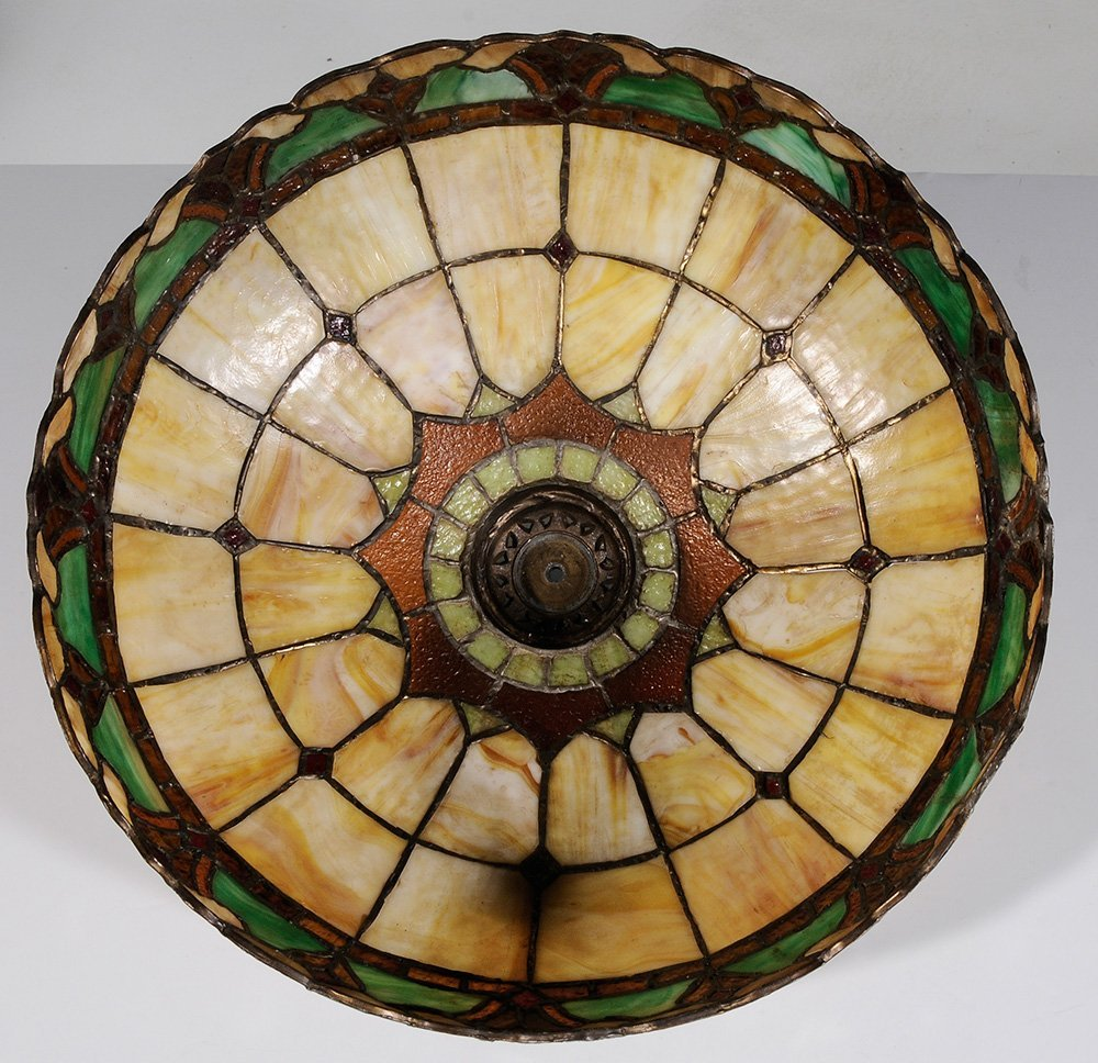 Cast Metal Lamp Base and Leaded Glass - 3