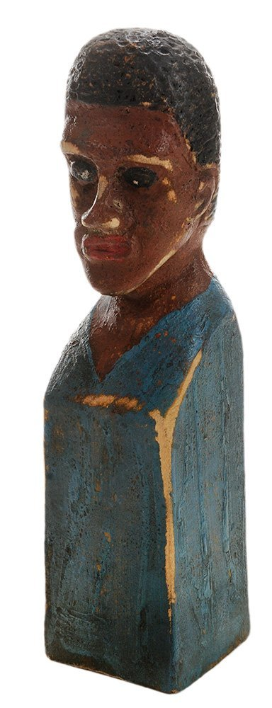 Folk Art Carved and Painted Bust of an