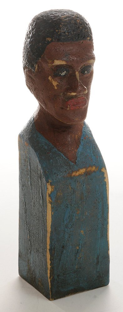 Folk Art Carved and Painted Bust of an - 2