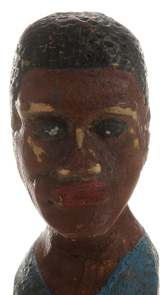 Folk Art Carved and Painted Bust of an - 4
