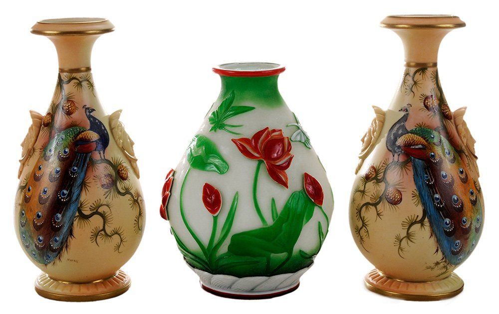Pair Worcester Porcelain Painted Vases