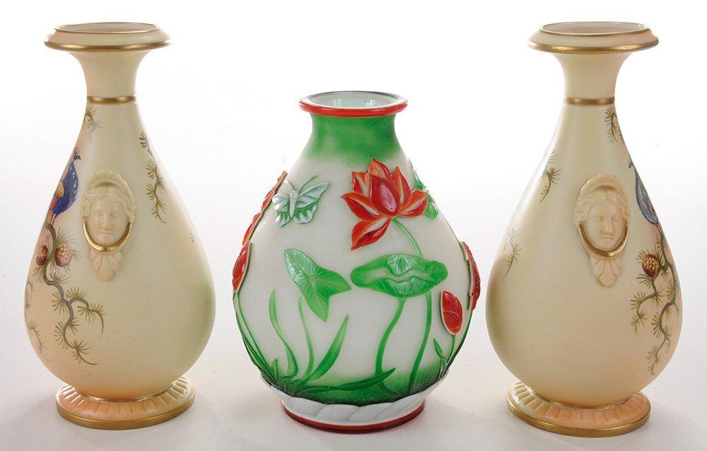 Pair Worcester Porcelain Painted Vases - 3
