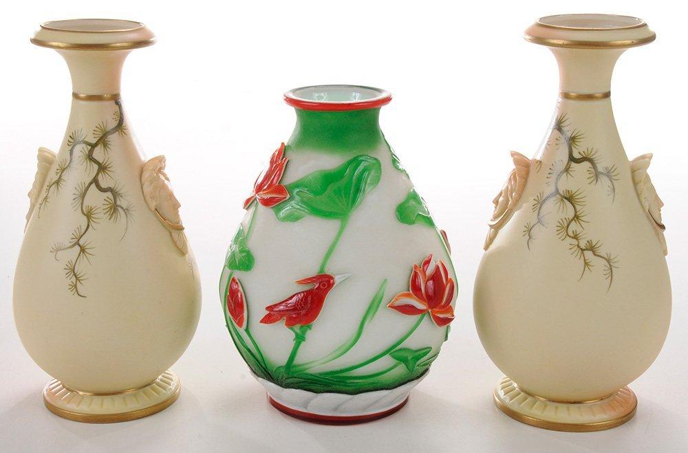 Pair Worcester Porcelain Painted Vases - 4
