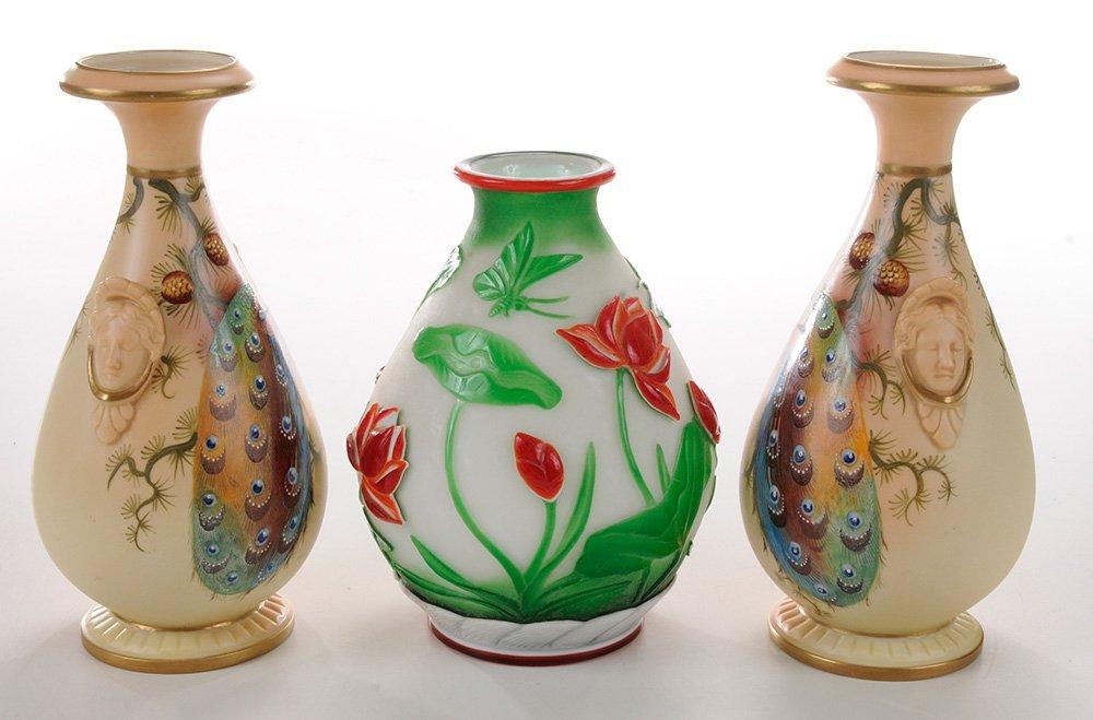 Pair Worcester Porcelain Painted Vases - 5