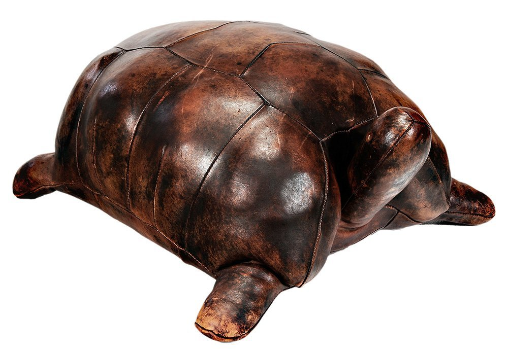 Leather Tortoise Form Ottoman