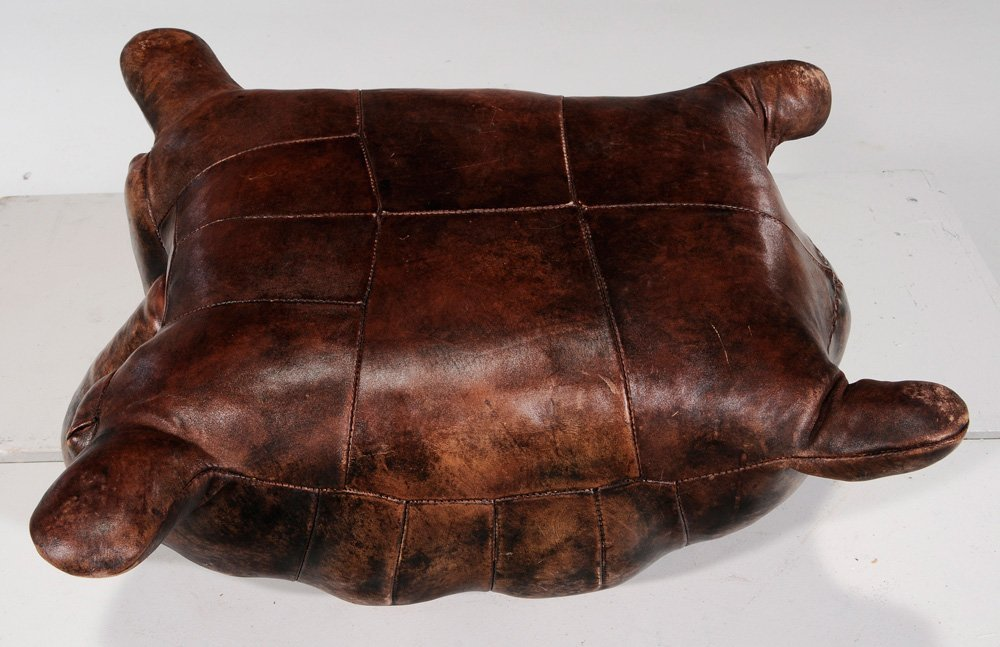 Leather Tortoise Form Ottoman - 2