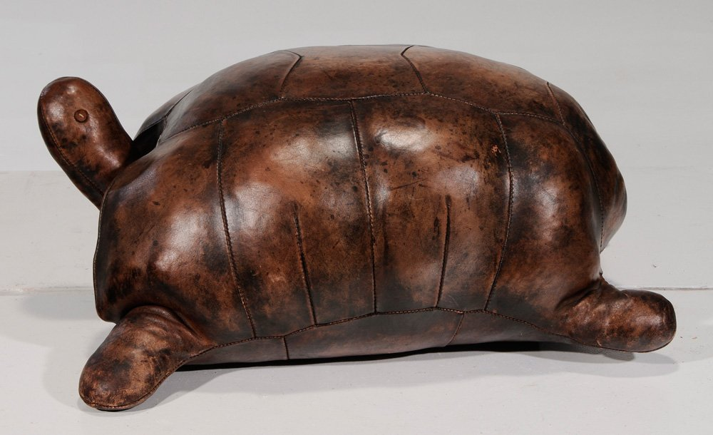 Leather Tortoise Form Ottoman - 3