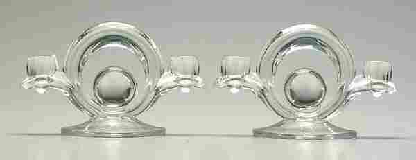 Pair Art Deco glass candelabra,