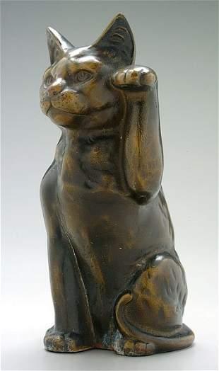 Bronze figure of cat,