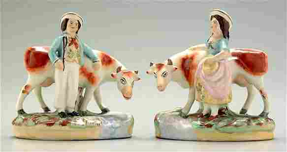 Two Staffordshire figural groups