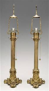 Pair bronze doré lamps