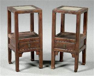 Pair Chinese stone top stands,