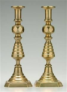 Pair English brass candlesticks,