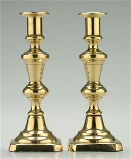 Pair 19th century pushup candlesticks,