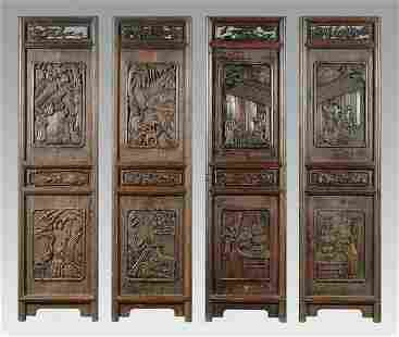 Four carved Chinese panels