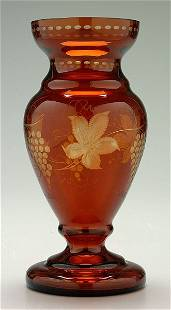 Intaglio cut baluster form vase,